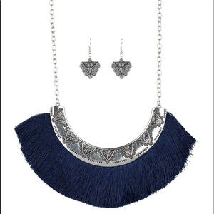 Blue fringe necklace and earrings set
